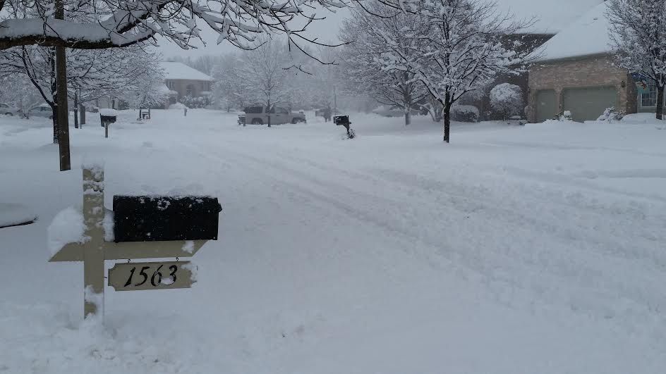 snowy driveway and mailbox