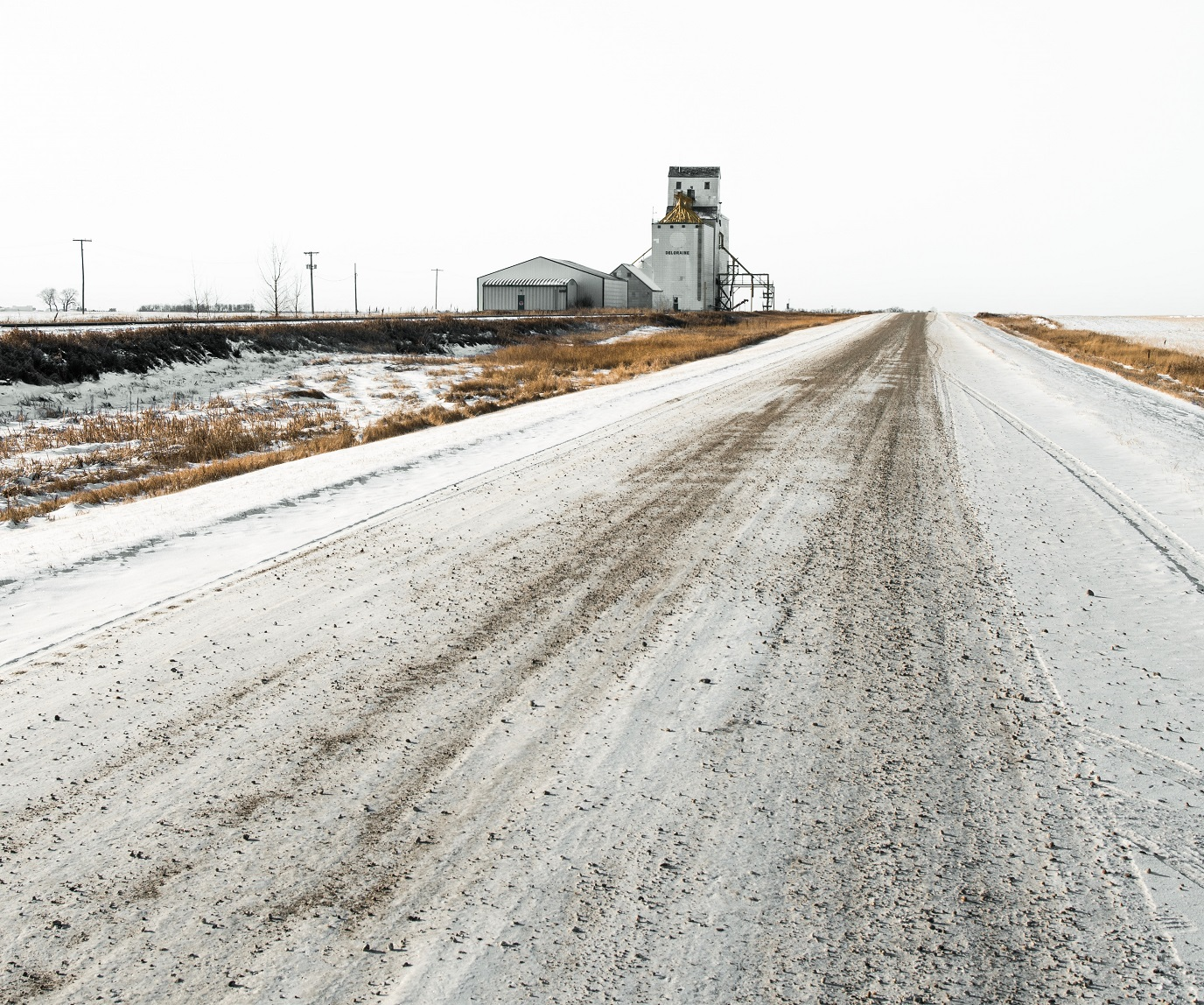gravel road in the snow