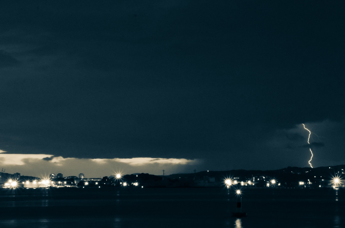thunder and lightning across the sky in a storm