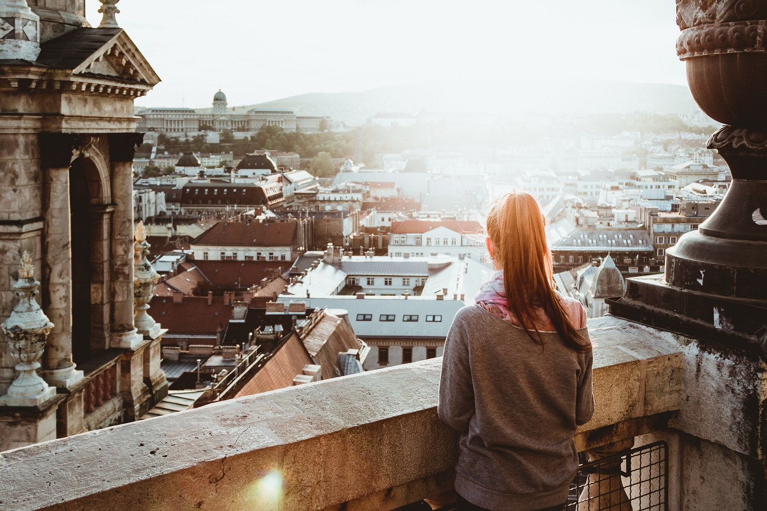 woman looking out over sky, falling is not failing