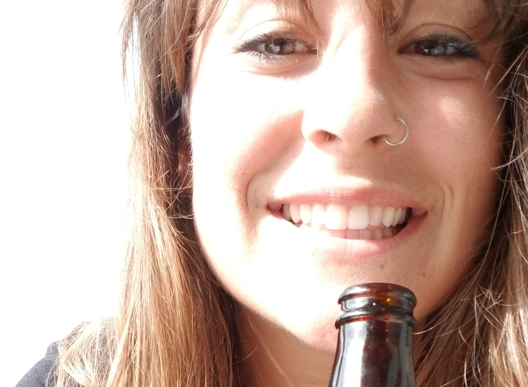 smiling with beer