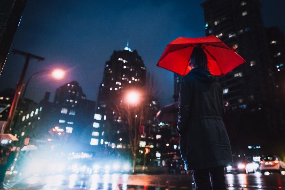 person holding umbrella looking at night sky, Hedgehog umbrella